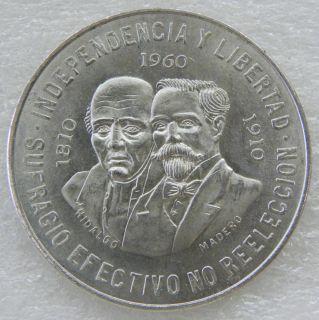 Mexican 1960 Madero Hidalgo $10 Pesos 900 Silver Banco de Mexico Coin