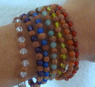 Mala Prayer Bead Bracelet Rudraksha Chakra Balancing Healing Gemstones