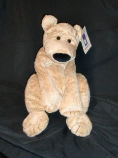 MANHATTAN TOY STUFFED PLUSH LINUS TEDDY BEAR NEW NWT CHAMOIS SUEDE TAN
