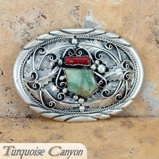 Navajo Native American King Manassa Turquoise & Coral Belt Buckle SKU