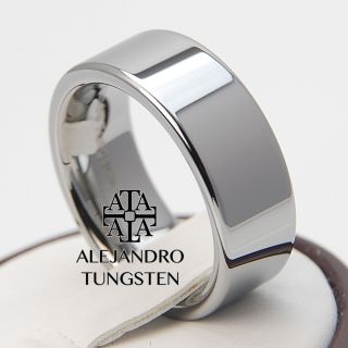 Tungsten Carbide Ring 8mm Men Pipe Cut Style Band Polished Shiny TG002