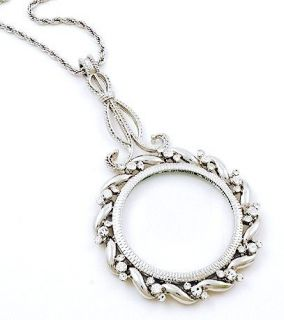 Magnifying Glass Necklace Crystal Long Large Quality Great Lovely