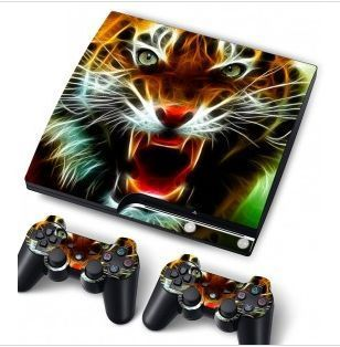 Vinyl Skin Sticker PS3 Slim Console Cover and Game Controllers   Tiger