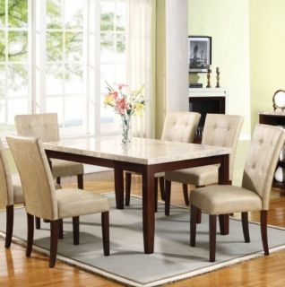 White Espresso Marble Top Dining Room Table and Chair Set AM1705810284