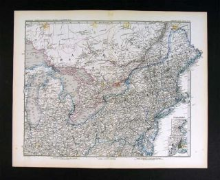 1882 Petermann Map East United States Canada New York