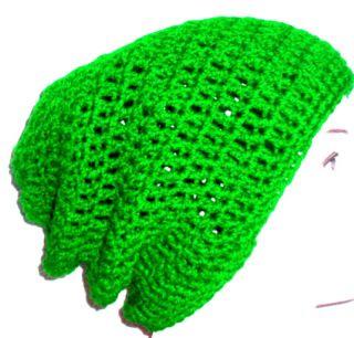 Mans Bright Green Rasta Slouch Beanie Hat BN
