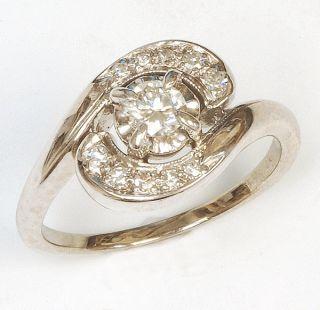 14k White Gold Diamond Ring Vintage Great Price