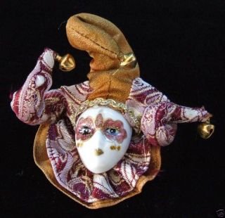 Porcelain Jester Face Mardi Gras Ornament Lady Antique