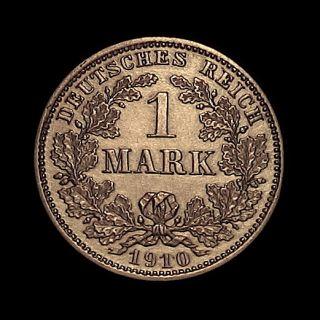 1910 D German 1 Mark Silver Beautiful High Grade
