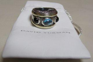 David Yurman BLUE TOPAZ ONYX Ring RENAISSANCE Heavy Sterling Silver 3