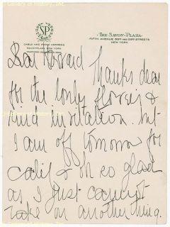 Marie Dressler Autograph Letter Signed