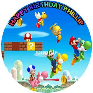 Super Mario Bros Round Edible Cake Image Icing Topper