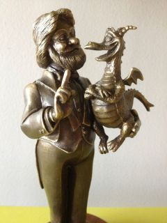 Disney Epcot Center Dreamfinder & Figment Bill Toma Bronze Statue