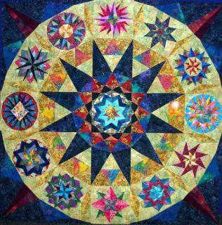 Stunning Batik Quilt TopDiamond Jubilee Mariners Compass 68½X68½