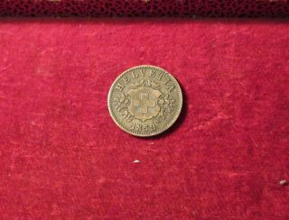 1859 Switzerland 20 Rappen Coin B Mint Mark