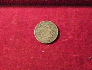 1859 Switzerland 20 Rappen Coin B Mint Mark