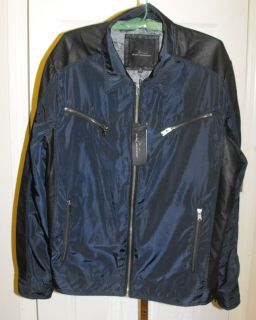Size XL Marc Anthony Navy Black Rayon Faux Leather Jacket