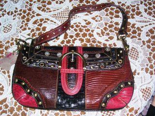 Marc Chantal Studded Faux Leather Baguette Handbag Purse