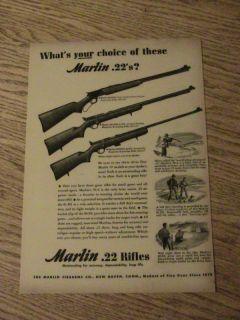 1947 Marlin Gun Advertisement Lever Action Ad 22 Rifle