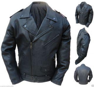 Black Motorcycle Marlon Brando Cruiser Retro Leather Jacket