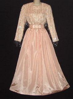Bangled Fringe Bill Blass Evening Metallic Gown Dress S