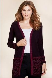 Marks and Spencer Per Una Black Mix Open Front Rose Hem Cardigan Size