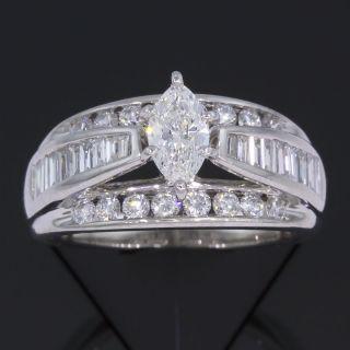 65 Carat Marquise Cut Diamond Wedding Ring 14k White Gold 1 1 2 CT