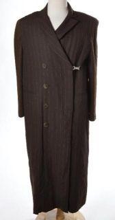 Martine Douvier Brown Orange Pin Stripe Trench Coat Sweater Statement