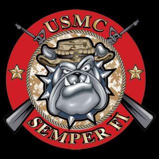 USMC Marine Corps Semper Fi Bulldog Bull Dog Logo Black T Shirt $9 95