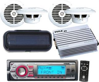 Marine Boat CD  Player Radio Stereo 4 x Speakers New 400W Amp