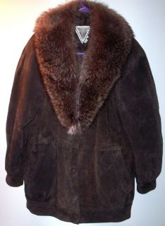 Percy Marvin Richards Leather Brown Coat Jacket W Fox Fur Size S see