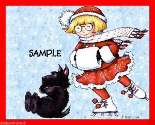 Mary Engelbreit Christmas Magnet Scottie Skate Girl