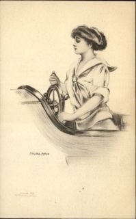 Pretty Woman Driving Boat at Helm Marjorie McMein Pencil Sketch