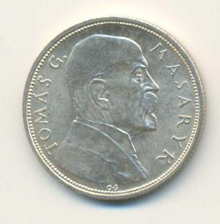 Czechoslovakia Tomas Masaryk Silver 10 Korun 1928 UNC