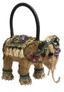 MARY FRANCES Elephant Straw New Delhi Bag Resort 2012 Bag Handbag