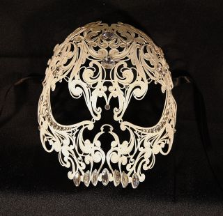 venetian mask white AUTHENTIC swarovski Skull mask Mens masquerade