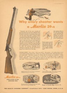 Neat Vintage 1948 Marlin Lever Action 22 Cal Repeating Rifle Print Ad