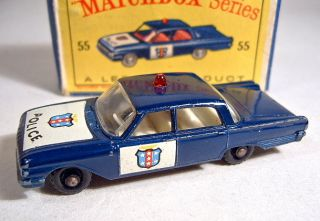 Matchbox RW No 55B Ford Fairlane Police Car Dark Blue