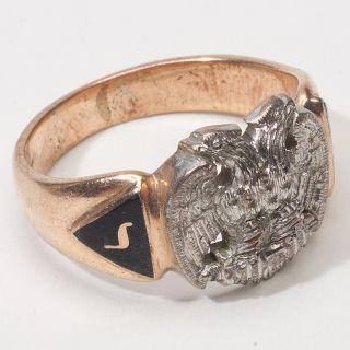 Vintage Estate Masonic 32nd Desgree Mens Gold Ring Band Fine