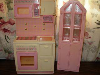 Barbie Doll House Furniture Mattel 1987 Stove China Cabinet