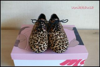 Matiko Jansen Leopard Animal Print Oxford Flat Shoes New Sz 7 5