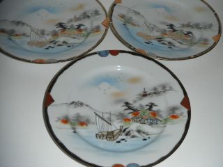 KUTANI JAPANESE 1950S PLATES MOUNTAIN VILLAGE SCENE /MARKED /GREAT