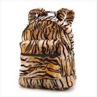 Tiger Stripe Print Soft Plush Fur Fabric Backpack Bookbag 13 x 16