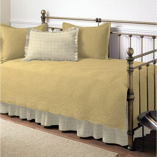 Trellis Maize 5 pc Daybed Cover Set Quilt Bedskirt Ruffled Quilted