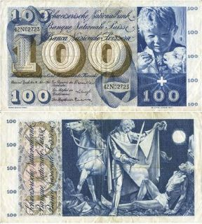 Switzerland 100 Francs P 49E VF Note St Martin 1963