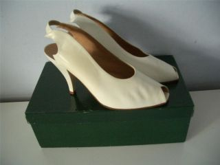 STUNNING MAUD FRIZON PARIS VINTAGE SLING BACK LADIES WHITE LEATHER