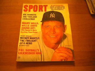 BASEBALL MAGAZINE   MICKEY MANTLE/JOE NAMATH/MAURY WILLS/WILLIE DAVIS