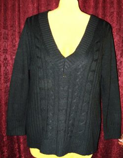 Womens Plus Size Sweater 2X Jason Maxwell Black V Neck Sweater