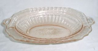 Hocking Mayfair Pink Glass 2 Handled Serving Bowl