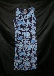 Norton McNaughton PS Petite SM Dark Navy Light Blue Floral Sleeveless